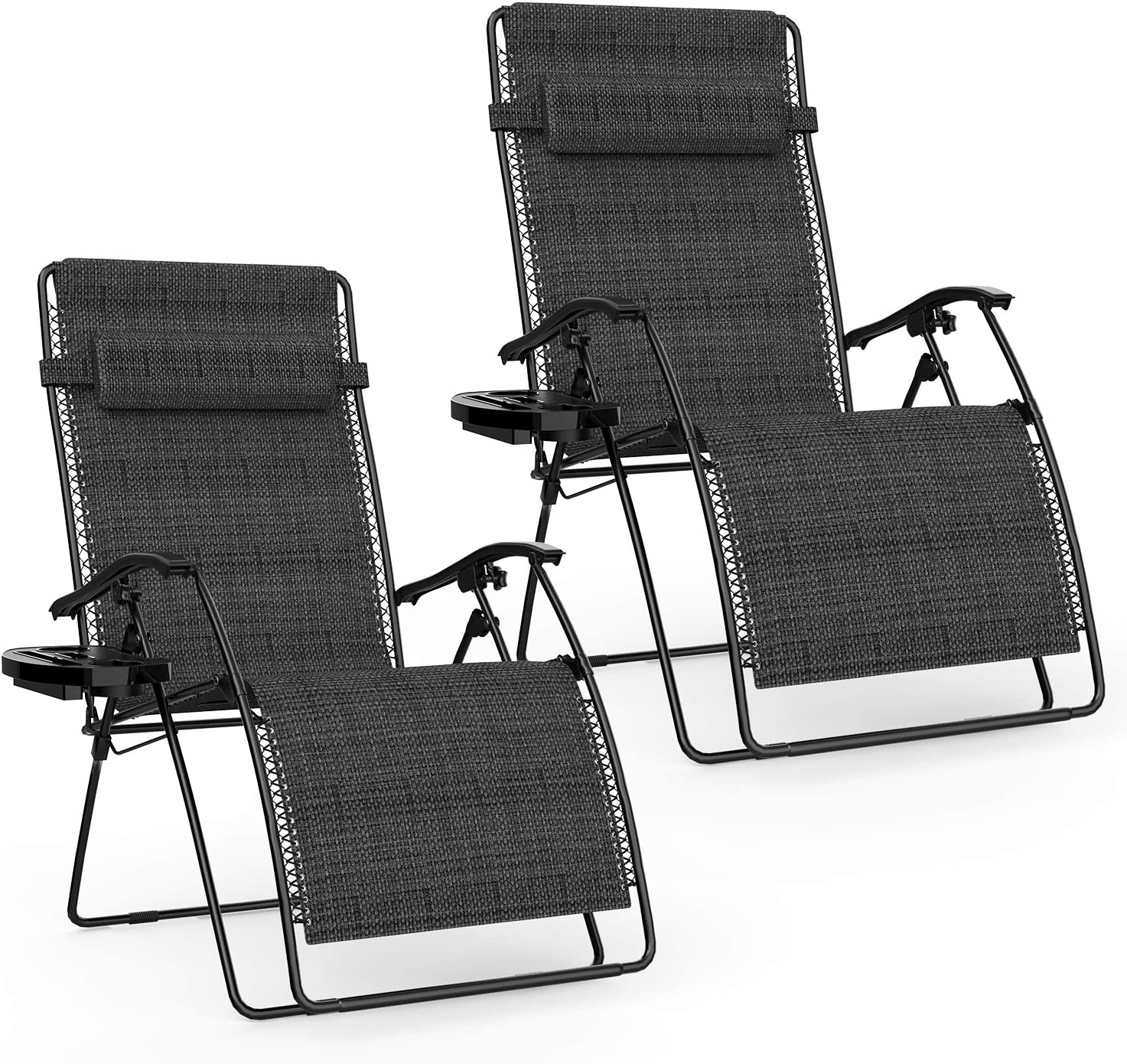 Keten Zero Gravity Chair, Patio Folding Lounge Chair Recliners, Adjustable Lawn Lounge Chair with Pillows Replacement Cords Cup Holders for Backyard Poolside Beach Set of 2(Black)
