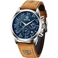 Reloj para Hombre Benyar Reloj cronógrafo analógico de Cuarzo Resistente al Agua Negra Moda Relojes de Pulsera…