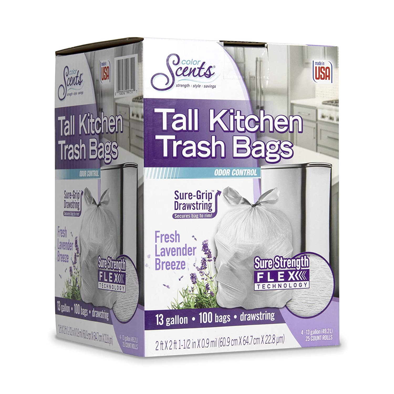 Color Scents Tall Kitchen Trash Bags - 13 Gallon, 100 Count (Pack of 1) Drawstring, Fresh Lavender Breeze Scented