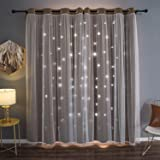Kinryb Blackout Romantic Curtain Hollow-Out Stars Curtains for Kids Girls Bedroom Living Room Double Layer Blackout Gradient