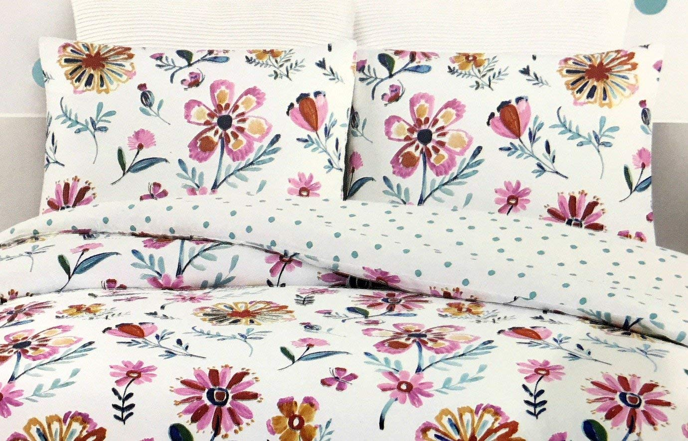 TUTU CUTE Girls Reversible 3-Piece Full/Queen Comforter Set Featuring Bright Flowers and Butterfiles