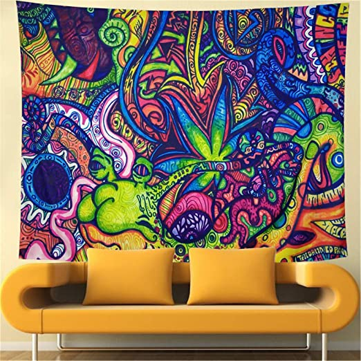 Psychedelic Tapestries Arabesque Tapestry Bohemian Wall Art Multiple Color Room