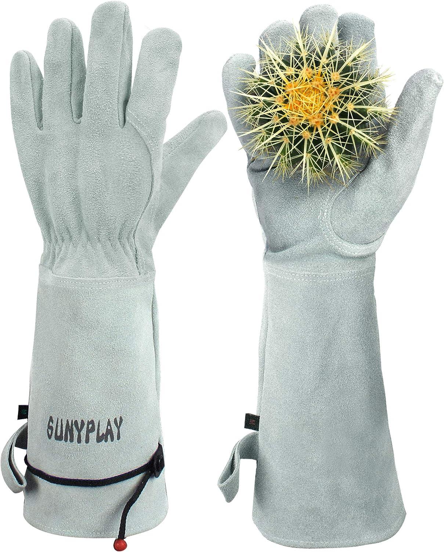 SUNYPLAY Gardening Gloves for Women/Men, Thorn Proof Cowhide Leather Garden Work Gloves