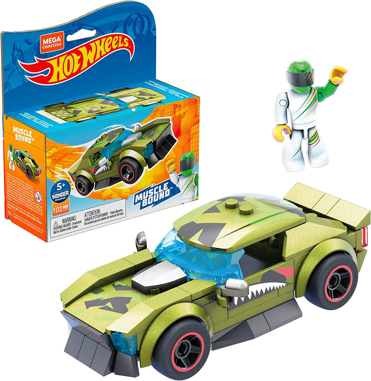 Mega Construx Hot Wheels Muscle Bound Construction Set, Building Toys for Kids 5 Years and Up