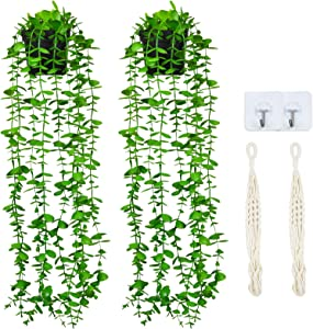Shiny Flower Artificial Hanging Eucalyptus Plants in Pots 2 Pack Fake Plastic Greenery Vines with Hanging Baskets for Home Shelve Indoor Outdoor Wall Wedding Garden Home Office Garland Decor