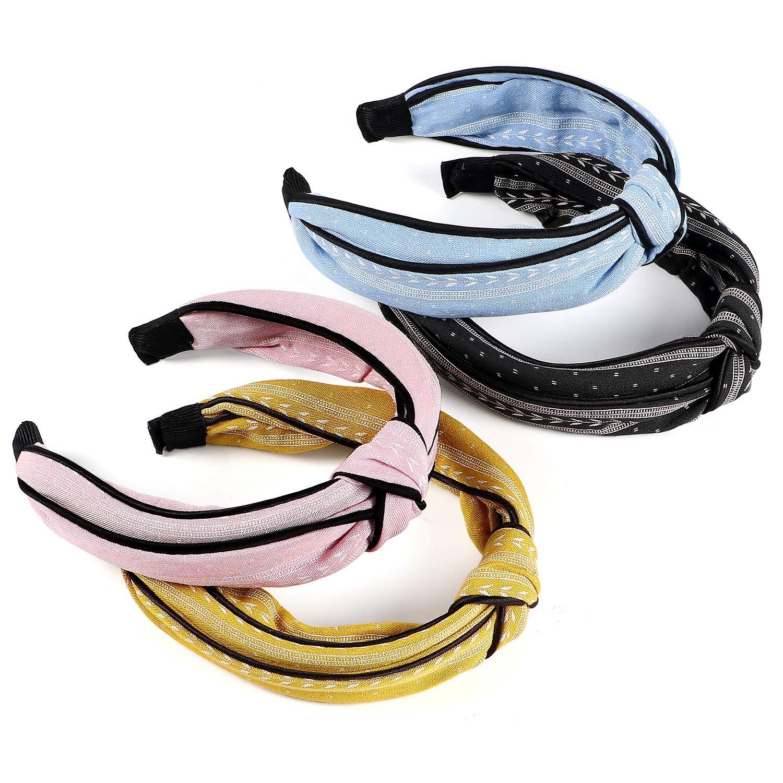vamei 4 Pezzi Cerchietto per Capelli Donna Fascia Capelli Donna Vintage Turbante fasce ritorto bandana Knot fascia capelli Wraps Accessori per Capelli