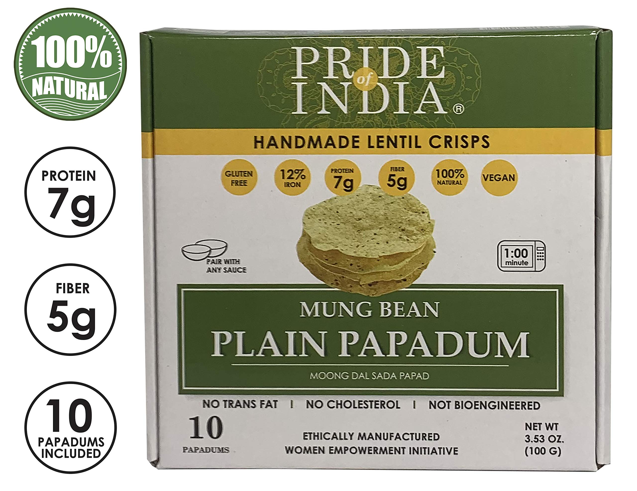 Pride Of India - Mung Bean Plain Papadum Lentil Crisp, Pack of 6-10 count (3.53oz - 100gm) - Protein Fiber & Iron Rich, Gluten-Free Vegan Lentil Crackers, Healthy Indian Appetizer, Ready in Seconds by Pride Of India