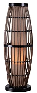 "Kenroy Home 32247RAT Biscayne Outdoor Table Lamp, Rattan Finish with Bronze Accents, 5"" x 5"" x 31"""