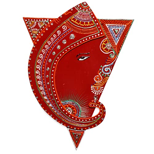 Indian Wall Decoration Hanging   Hindu Shakti Triangle With Ganesh Wall  Decor Painting   Red Colour