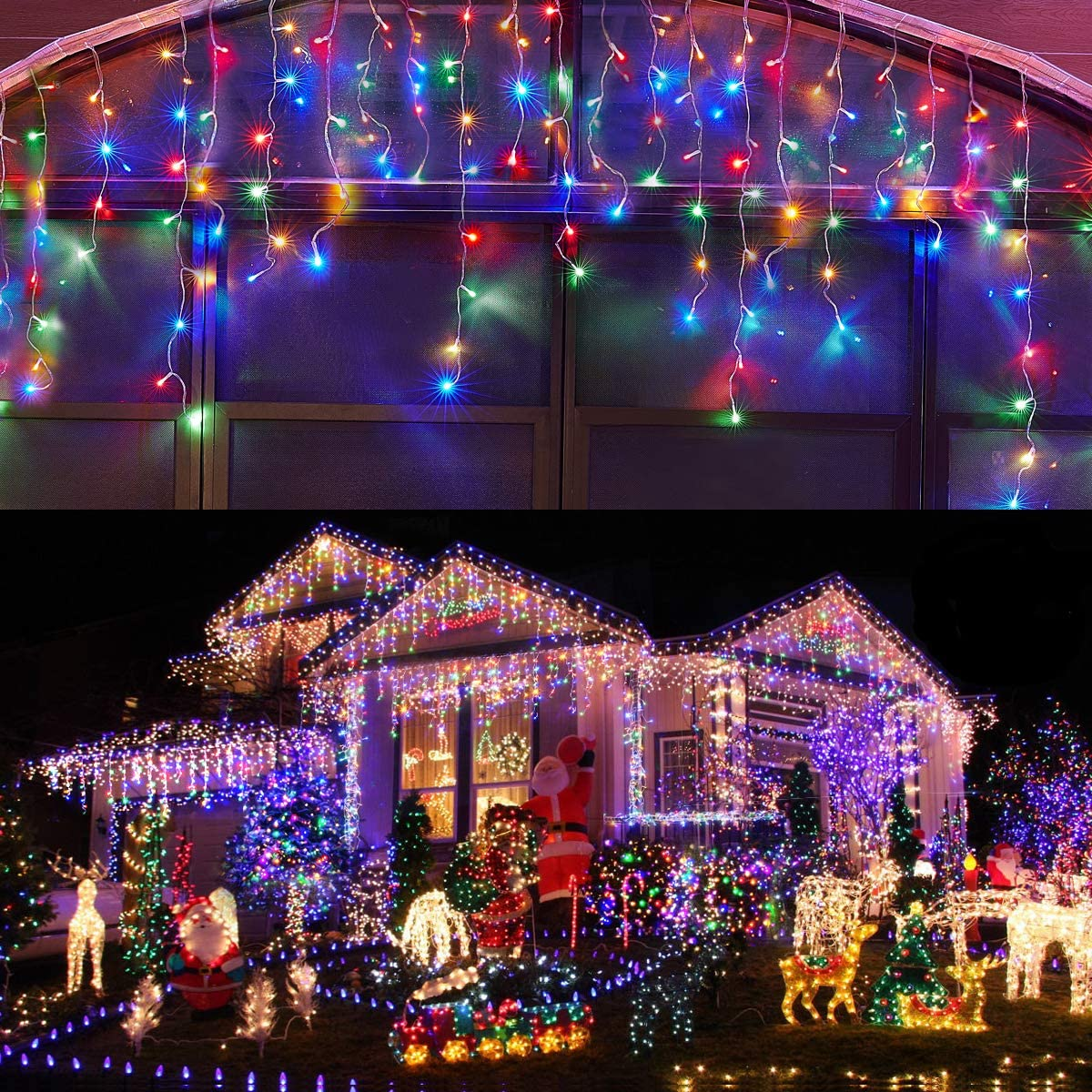 Led Icicle Lights Outdoor Christmas Decorations Lights 400LED 8 Modes Icicle Christmas Lights, Outdoor Fairy String Lights for Party, Holiday, Wedding Decorations Multicolor