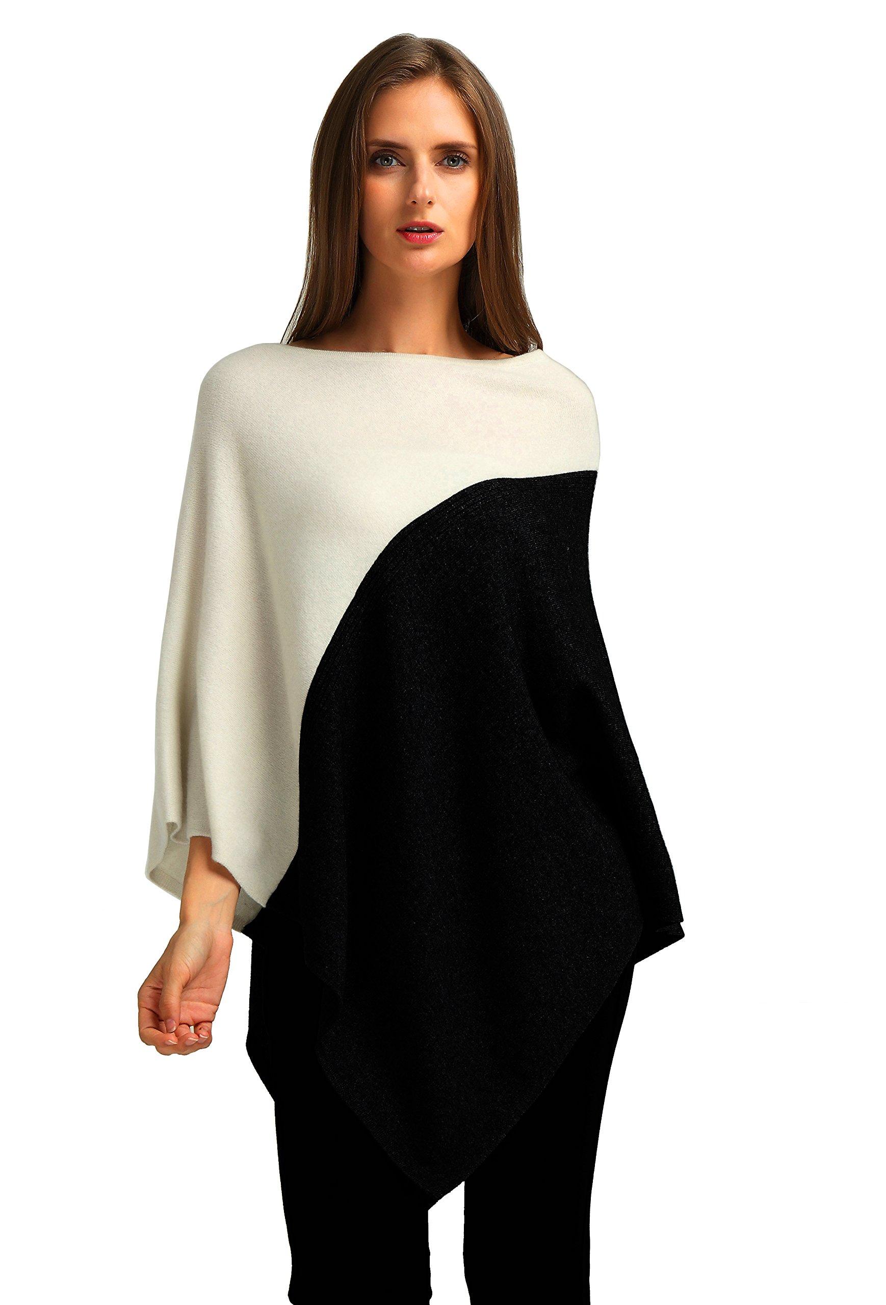 Ellettee, Black-White 96% Pure Cashmere Knit Pullover Poncho Dress Topper Travel Wrap Shawl Cape Sweater Cloak