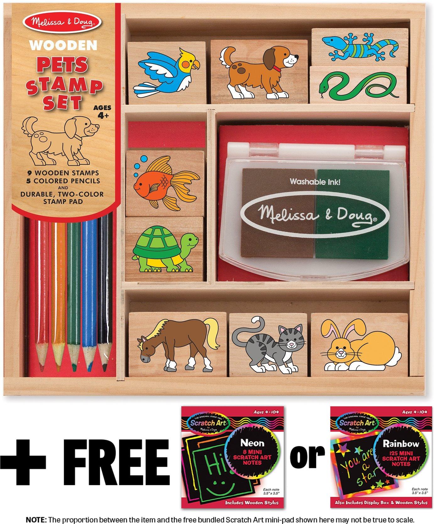 Pets: Wooden Stamp Set + FREE Melissa & Doug Scratch Art Mini-Pad Bundle [93637]