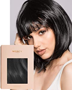 Blackout Wig ✮ Party Black Bob Wig for Festivals Raves by Mercy in Cropped Fringe