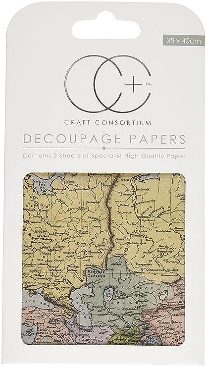 Amazon.com: Craft Consortium World Map Decoupage Papers (3 Pack ...