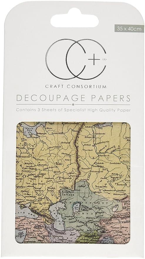 Craft Consortium World Map-Decoupage Paper 3/Pk, Acrylic, Multicolour,  11.68x21.08x0.25 cm