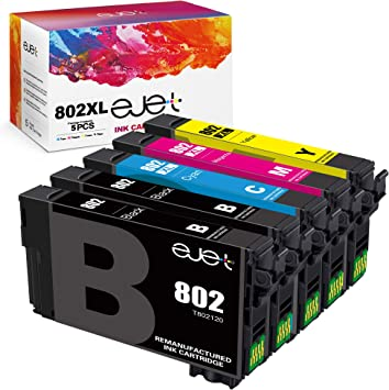 ejet Remanufactured Ink Cartridge Replacement for Epson 802XL 802 T802XL T802 to use with Workforce Pro WF-4720 WF-4730 WF-4734 WF-4740 EC-4020 Printer (2 Black, 1 Cyan, 1 Magenta, 1 Yellow, 5-Pack)