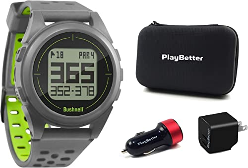 Bushnell iON2 Golf GPS Watch Silver Green Premium Bundle PlayBetter USB Car Wall Adapters PlayBetter Protective Hard Case Sleek, 36,000 Courses, Shot Distance