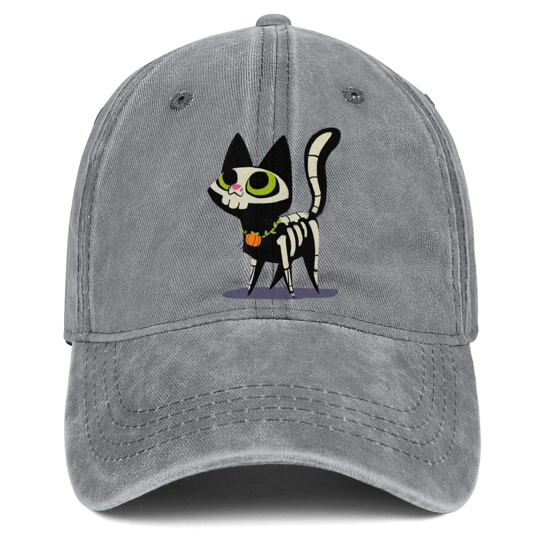 Halloween Cat Skull Unisex Baseball Cap Lightweight Sport Caps Adjustable Trucker Caps Dad-Hat
