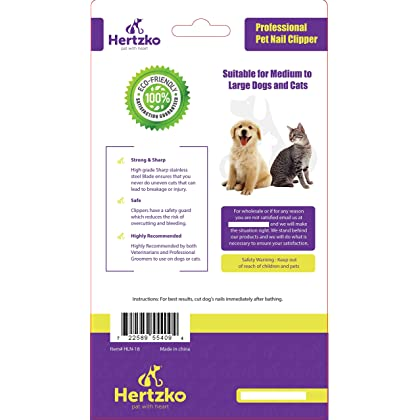 Professional Pet Nail Clipper and Trimmer By Hertzko - Suitable for Medium to Large Dogs and Cats - Includes Safety Guard to Avoid Overcutting - Bonus! Free Nail File Included!