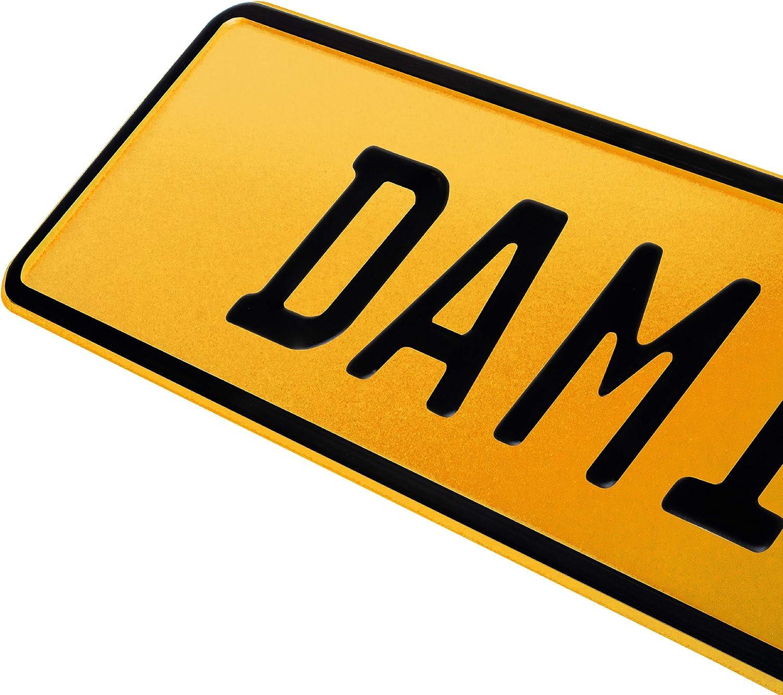 Saugn/äpfen Namensschild Bobbycar Kettcar FUN Schild in Gelb 1 St/ück Kennzeichen Junior-Schild 34cm x 9cm Bohrung Farbwahl Wunschtext Wunschpr/ägung Muster Datum Namenskennzeichen Bohrung