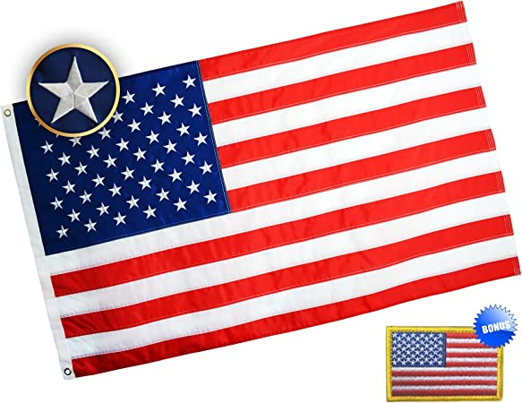 American Flag 3x5 Ft USA US Flag Deluxe Embroidered Star Sewn Stripes Heavy Duty