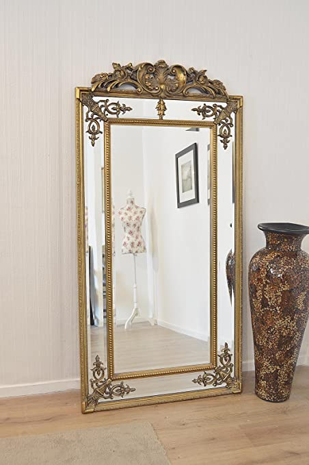 BEST-SELLING LARGE ANTIQUE GOLD ORNATE MIRROR Lean or Wall Hang 162 x 72cm
