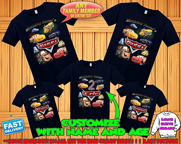 Amazon Disney Cars Birthday Shirt Tshirt Theme Party Shirts Family Matching Handmade