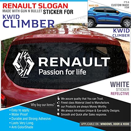Carmetics custom renault logo with slogan sticker for renault kwid climber
