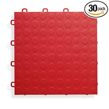 BlockTile B0US4330 Garage Flooring Interlocking Tiles Coin Top Pack Red 30