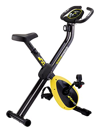 Movi Fitness Bicicleta Estática magnética mf611 X-Compact, Negro/Amarillo