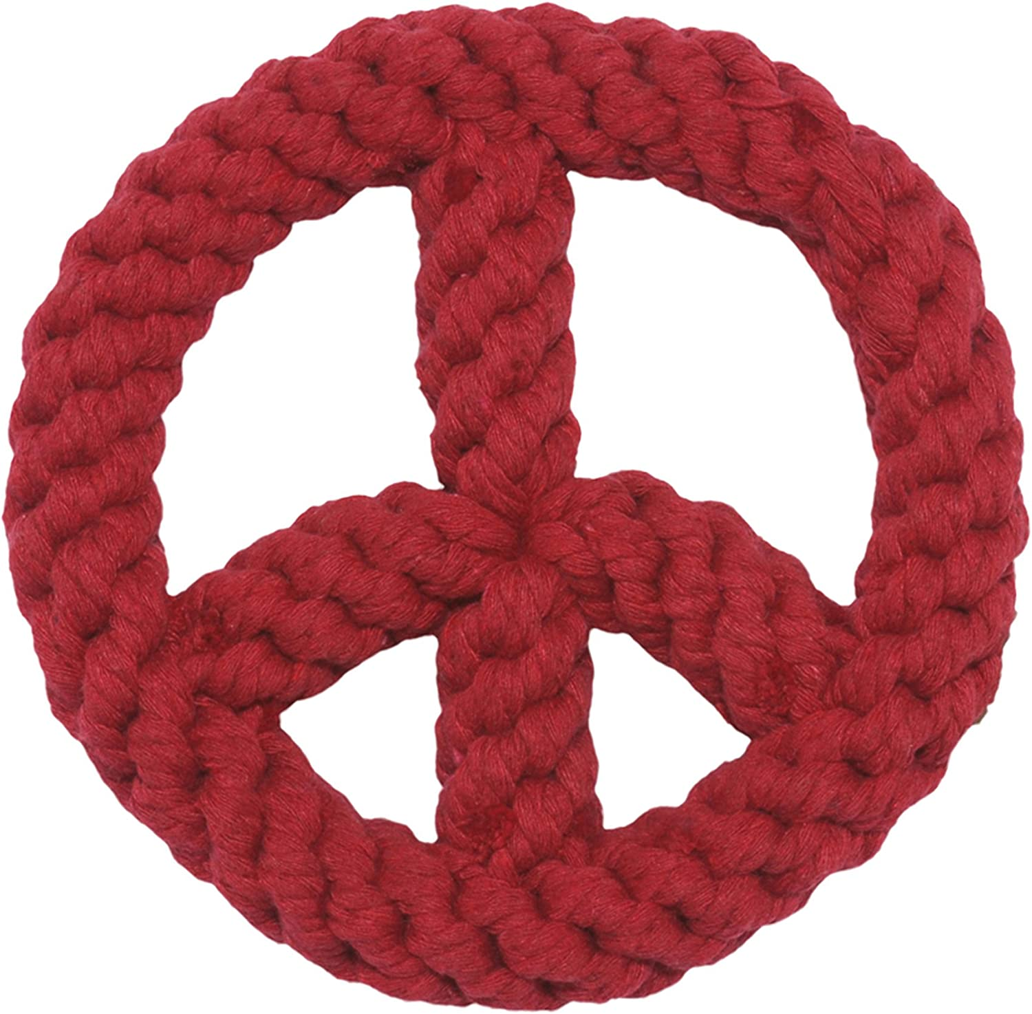 Red Peace Sign 7インチ(18cm) One Size Rope Dog Toy カラー:Red サイズ:OS