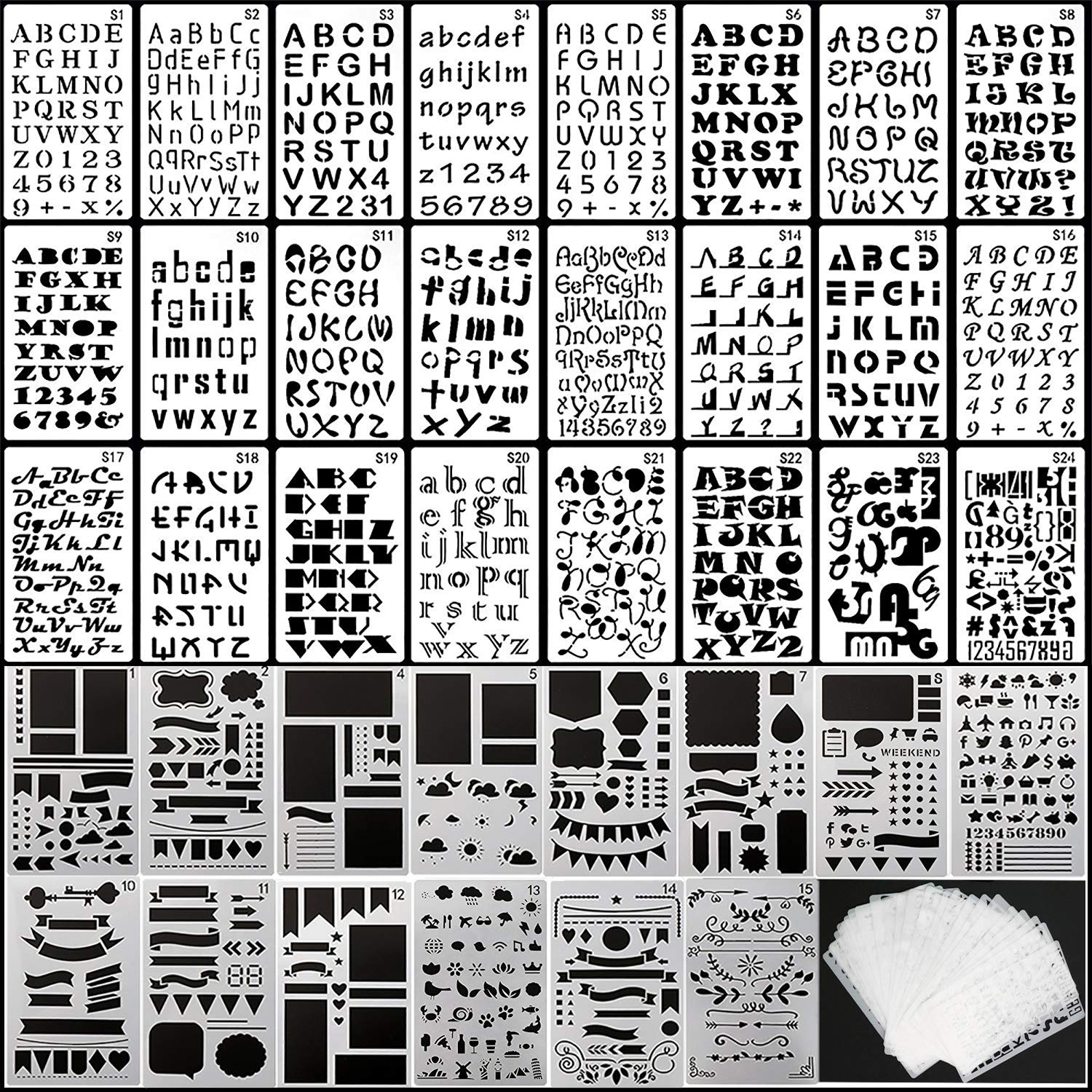 39PCS Letter and Number Stencils Journal Stencils Storage for Notebook, Diary, Scrapbook,  DIY Drawing Template by ipekar