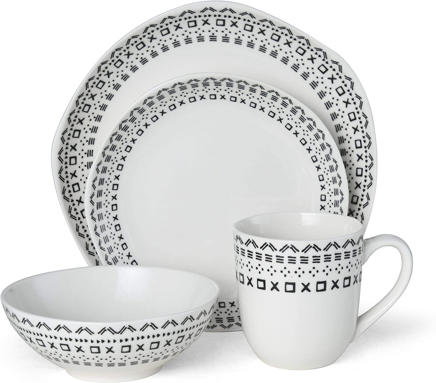 Fitz and Floyd Organic Coupe Maric 16-Piece Dinnerware Set, Assorted