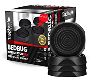 Bed Bug Interceptors 4 pack Bed Bug Trap Black. Design Ensures no Talcum Powder or Additional Products Needed. The Most Reliable Bed Bug Trap on the Market Black