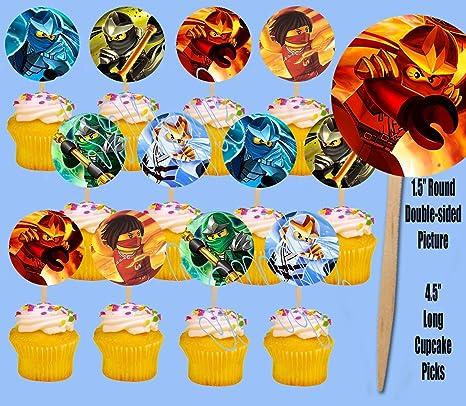 Ninjago Ninjas Only Solos Kids Video Game Cupcake Picks Cake Topper -12  pieces