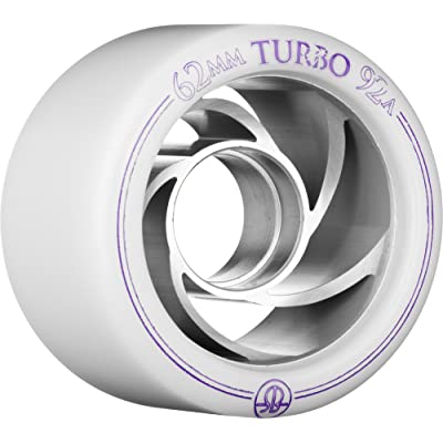 Rollerbones Turbo 92A Speed/Derby Wheels with an Aluminum Hub (Set of 8), 62mm, White : Sports & Outdoors