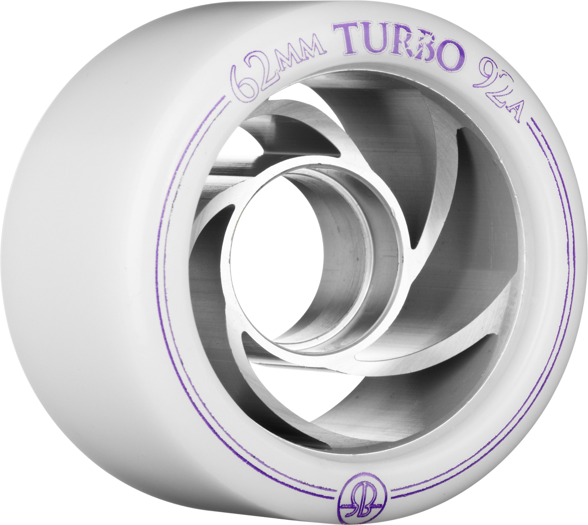Rollerbones Turbo 92A Speed/Derby Wheels with an Aluminum Hub (Set of 8), 62mm, White