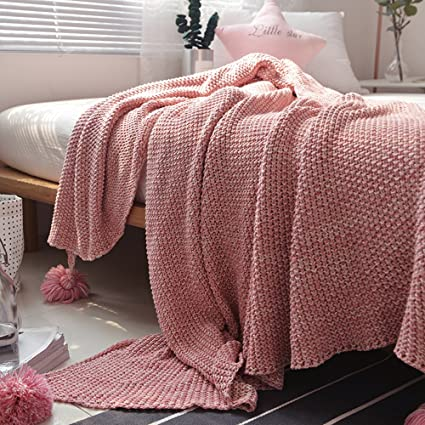 ZHIMIAN Lightweight 100 Cotton Color Block Cable Knitted Throw Bed Blanket With Tassels 51 WX70 L 51 WX70 L Pink