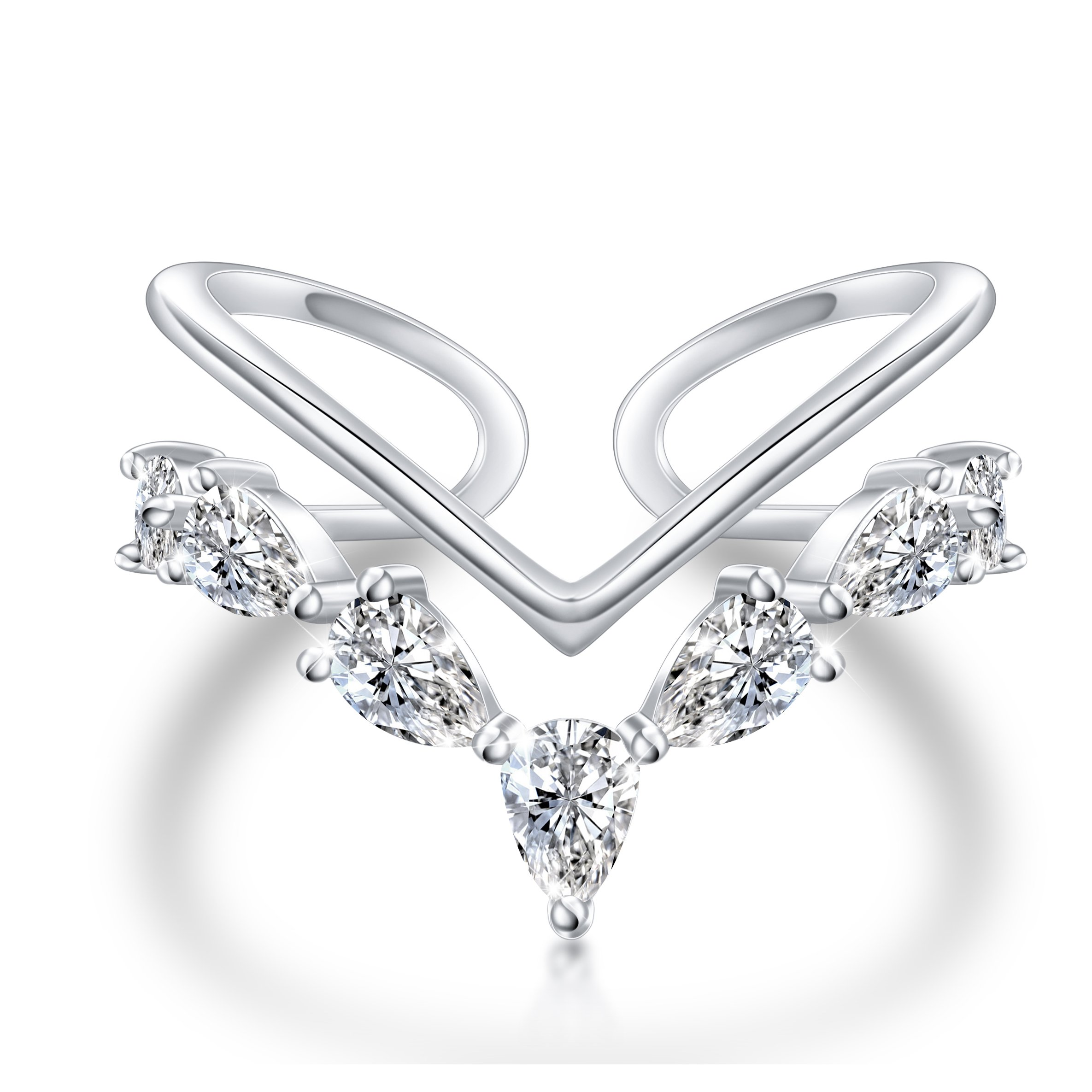 Shaoan Jewelry Sterling Silver CZ V ring Open Adjustable Wrap Heart Princess Ring for Women Girl, Size 7 (White Gold)
