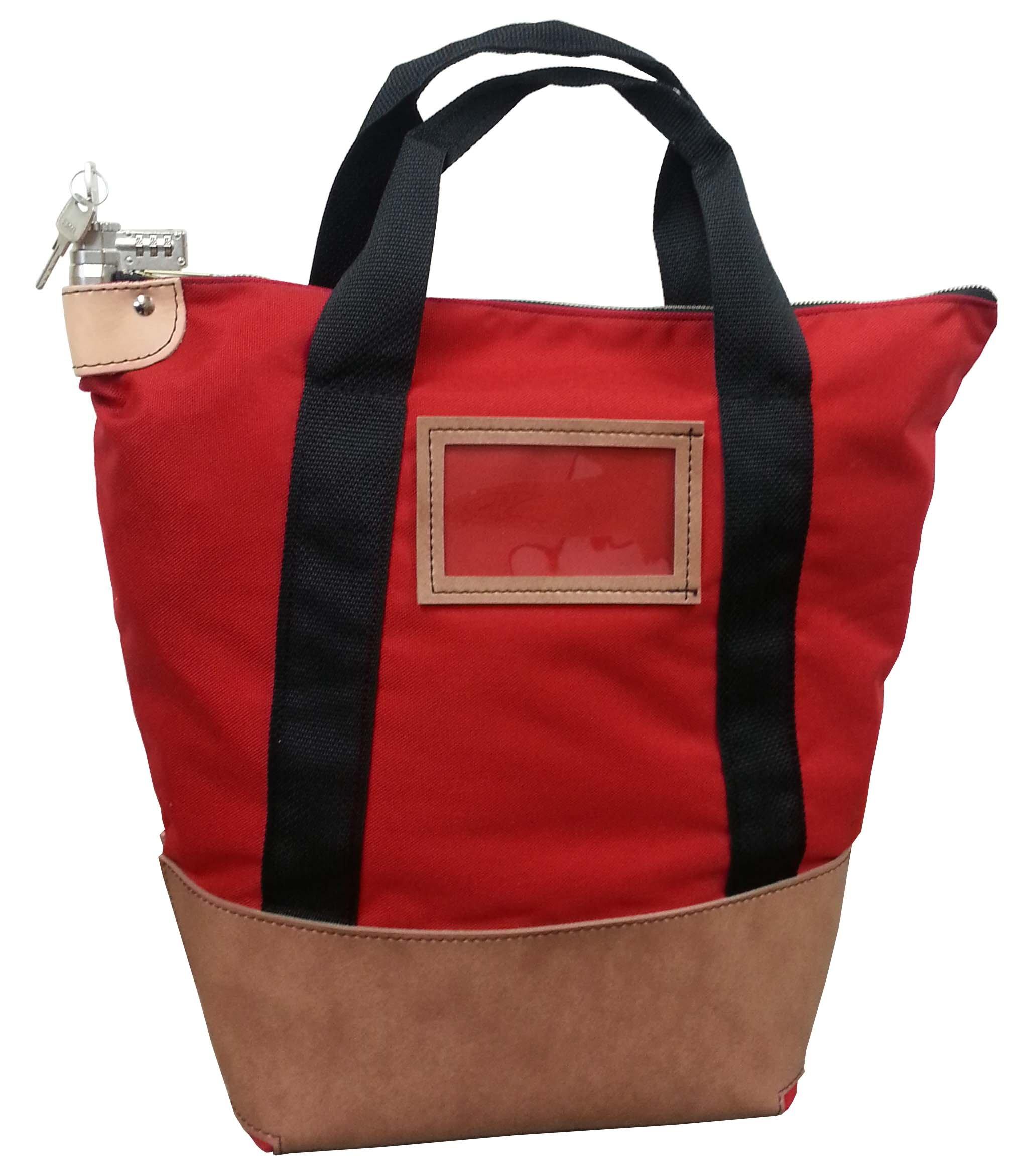 Locking Courier Bag 1000 Denier Nylon Combination Keyed Lock(Red)