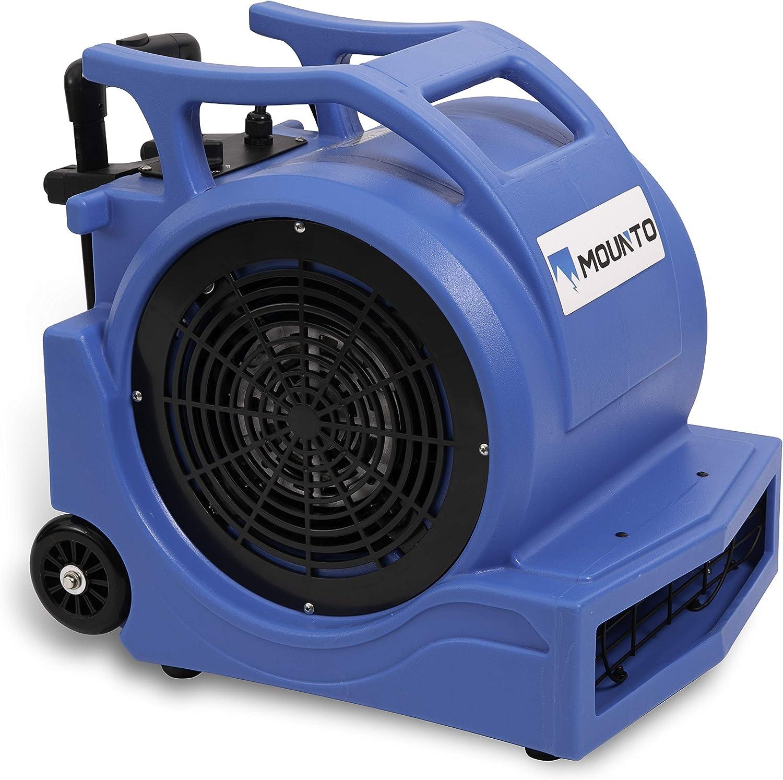 MOUNTO 3-Speed 1Hp 4000 Plus CFM Monster Air Mover Floor Carpet Dryers with Handle Wheelkit Blue