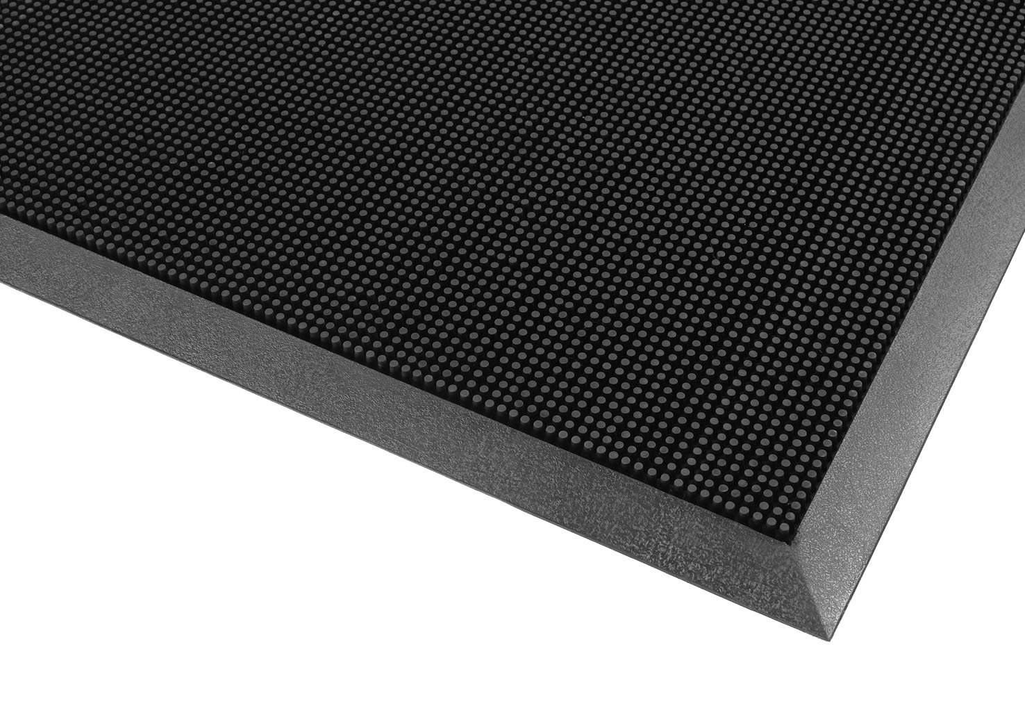 Notrax 345 Rubber Brush Styrene-Butadiene Rubber Entrance Mat, For Construction Traffic Area and Municipal Buildings, 24'' Width x 32'' Length x 5/8'' Thickness, Black