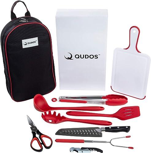 Q QUDOS Cooking Grilling Utensil Organizer Travel Set Carry Case