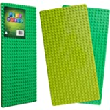 Play Build Baseplate Brick Set – 2 Pieces – 10 x 20 Inch Base Plates – Compatible With Lego Duplo Building Blocks & Most Major Brands – Recommended Ages 3+