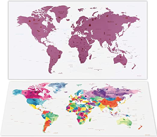 envami Mapa Mundi Rascar I Mapas del Mundo para Marcar Viajes I 80 ...