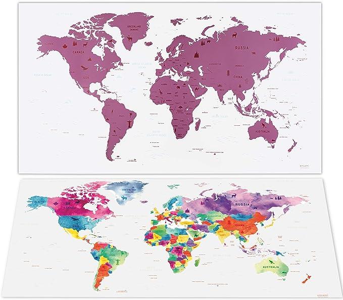 envami Mapa Mundi Rascar I Mapas del Mundo para Marcar Viajes I 80 X 40 CM I Rosa I Scratch Off Travel Map: Amazon.es: Hogar