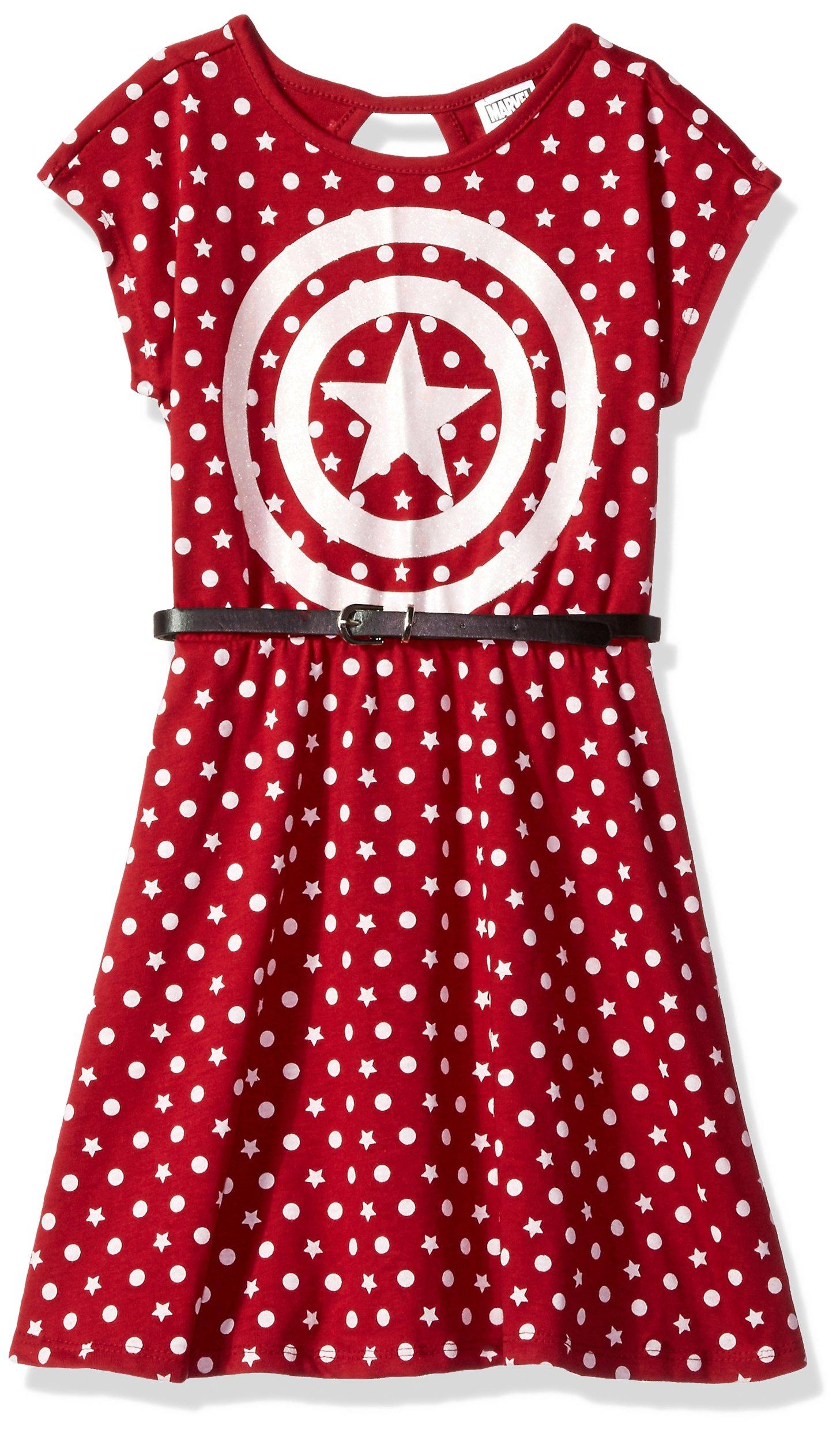 Marvel Little Girls' Captain America Dress with Belt, Burgundy, L-6x