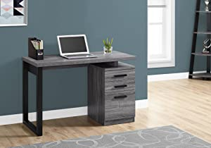 "Monarch Specialties Laptop Table with Drawers for Home & Office-Contemporary Style Computer Desk, 48"" L, Grey-Black Metal Leg"