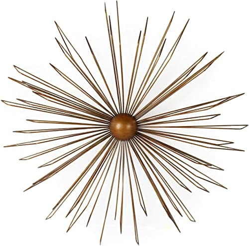 Home Art 36 Decorative Gold-Color Metal Wall Hanging Accents Decor Widget, Contemporary Modern Starburst Design