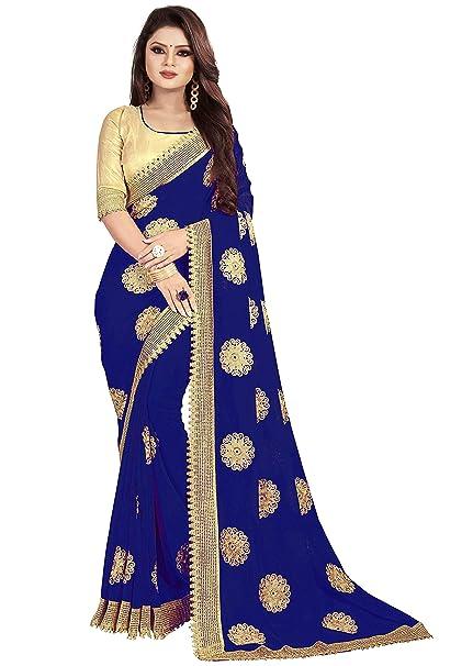 f8dda7e436 SareeShop Navy Blue Georgette Embroidered Saree: Amazon.in: Clothing &  Accessories